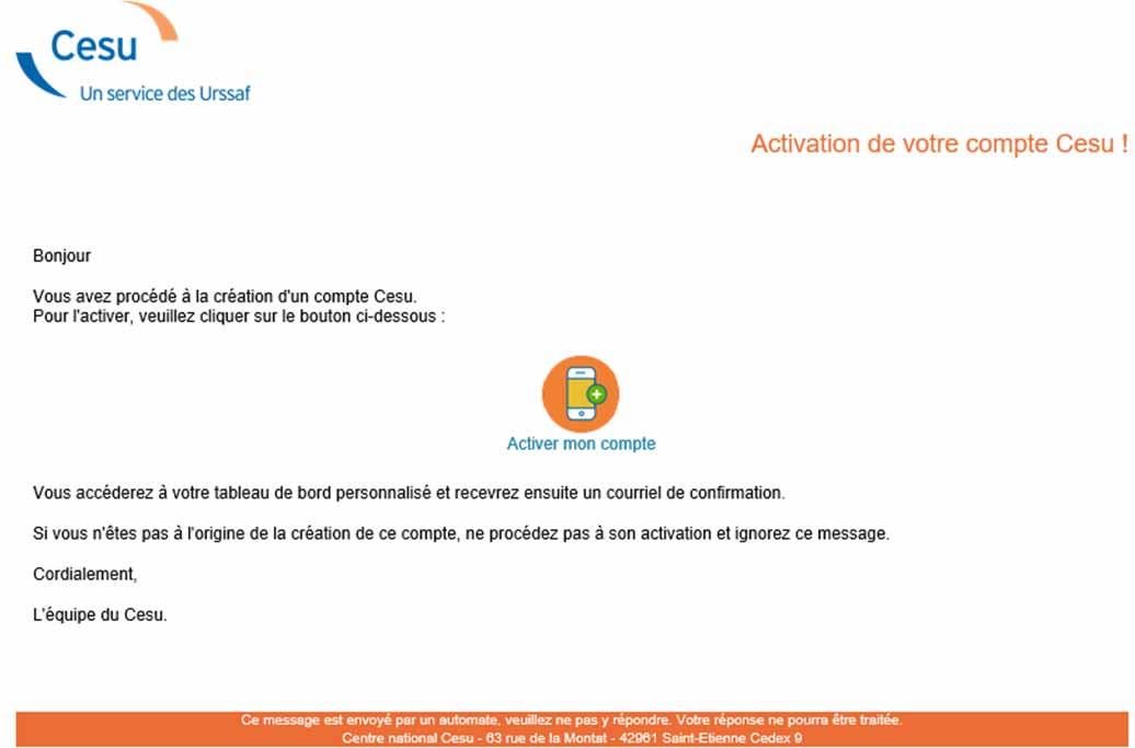 E-mail pour valider une inscription CESU