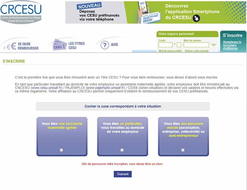S'inscrire au CR CESU quand on est particulier
