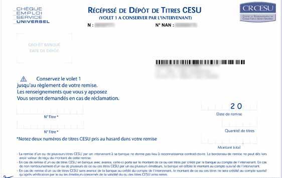 Le volet 1 du bordereau de remise personnalisé CRCESU