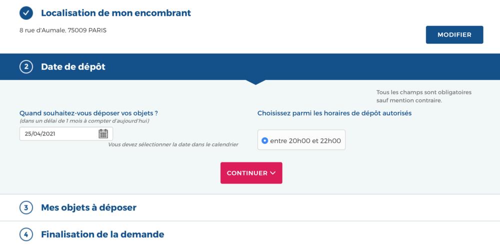 La date pour une demande d'encombrants à paris
