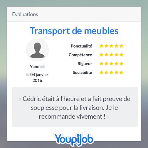 Commentaire de Yannick laissé à Cédric après un job de déménagement
